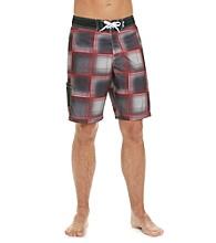 Mambo® Men's Black/Red Plaid Side Pocket Board Short