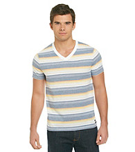 Mambo® Men's Breaker White Short Sleeve Stripe V-Neck Tee