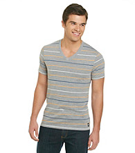 Mambo® Men's Alternate Stripe Orange Short Sleeve Stripe V-Neck Tee
