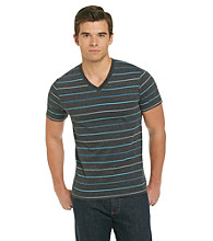Mambo® Men's Alternate Stripe Blue Short Sleeve V-Neck Tee