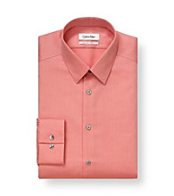 Calvin Klein Men's Creamsicle Coral Solid Point Steel Dress Shirt