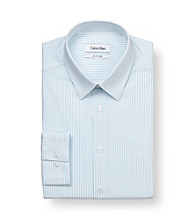 Calvin Klein Men's White/Blue Opal Stripe Slim-Fit Dress Shirt