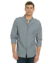 Calvin Klein Jeans® Men's Dark Wash Stripe Long Sleeve Button Down Shirt