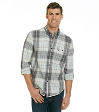 Calvin Klein Jeans® Men's White Plaid Military Long Sleeve Button Down Shirt