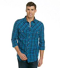 Calvin Klein Jeans® Men's Egyptian Glazed Blue Steely Plaid Long Sleeve Button Down Shirt