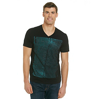 "Guess Men's Jet Black ""No Code"" Basic V-Neck Graphic Tee"