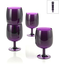 LivingQuarters Samba Purple 4-Piece Stackable Wine Glass Set