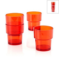 LivingQuarters Samba Orange 4-Piece Stackable Cup Set