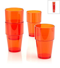 LivingQuarters Samba Orange 4-Piece Stackable High Ball Set