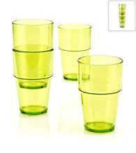 LivingQuarters Samba Lime 4-Piece Stackable High Ball Set