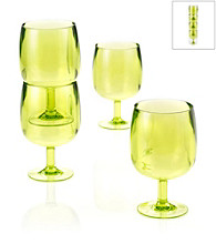 LivingQuarters Samba Lime 4-Piece Stackable Wine Glass Set