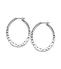 Cellini Silver Plate Flat Hamm Oval Click Hoop Earrings
