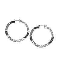 Cellini Silver Plate Flat Hamm Click Hoop Earrings