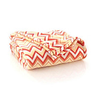 LivingQuarters Micro Cozy Coral Zig Zag Throw