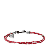 Fossil® Silvertone & Fuchsia Friendship Bracelet with Heart Charm