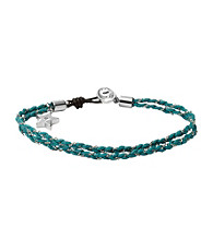Fossil® Silvertone/Turquoise Friendship Bracelet with Star Charm