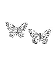 Fossil® Silvertone Open Work Simulated Crystal Butterfly Stud Earrings