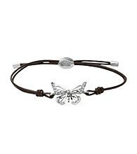 Fossil® Chocolate Cord Wrist Wrap With Silvertone Simulated Crystal Openwork Butterfly