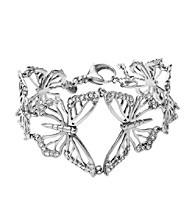 Fossil® Silvertone & Simulated Crystal Open Work Butterflies Flex Bracelet