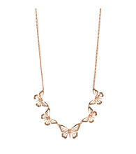 Fossil® Simulated Crystal Rose Goldtone Butterfly Link Collar Necklace