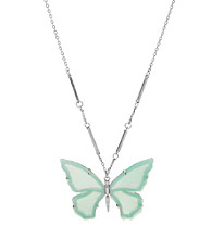 Fossil® Long Aqua Hand Cut Resin Butterfly on Silvertone Chain