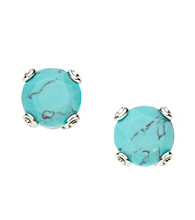 Fossil® Silvertone Reconstituted Turquoise Stud Earrings
