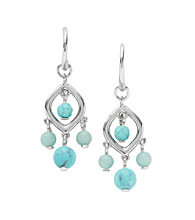Fossil® Silvertone & Turquoise Chandelier Earrings