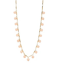 Fossil® Goldtone Necklace with Coral Bead Drops