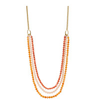 Fossil® Coral & Goldtone Multi Strand Drama Necklace