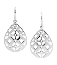 Fossil® Silvertone Iconic Signature Tear Drop Earrings