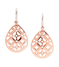Fossil® Rose Goldtone Iconic Signature Tear Drop Earrings