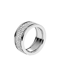 Fossil® Polished Steel with Simulated Crystal Pave Banded Ring