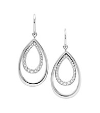 Fossil® Polished Steel with Simulated Crystal Pave Double Teardrop Earrings