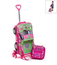 MaxToy Pink Flowers Pick-Up Truck 3D Roller BackPack Set