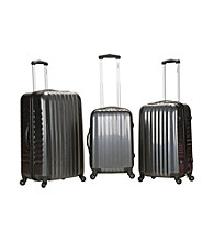 Rockland® 3-pc. Grey Carbon Fiber ABS Luggage Set