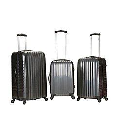 Rockland® 3-pc. Grey Carbon Fiber ABS Luggage Set