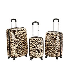 Rockland® 3-pc. Leopard Polycarbonate Upright Luggage  Set