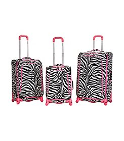 Rockland Polo Equipment® 3-pc. Pink Zebra Spinning Luggage Set