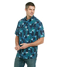 Paradise Collection® Men's Short Sleeve Aztec Print Silk Woven