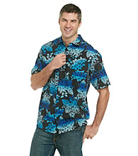Paradise Collection® Men's Midnight Black Short Sleeve Tropical Ombre Print Silk Woven