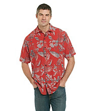Paradise Collection® Men's Red Rust Short Sleeve Tropical Print Silk Woven