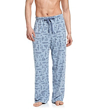 John Bartlett Statements Men's Blue Sailboat Printed Knit Lounge Pant