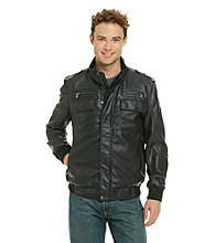Calvin Klein Men's Black Faux Leather Bomber