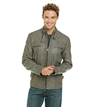 Calvin Klein Men's Grey Faux Leather Moto Jacket
