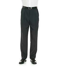 Savane Men's Straight Fit Pleated Crosshatch Pants