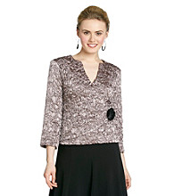 Cachet® Charmeuse Faux Wrap Jacket