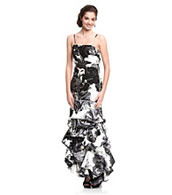 Jump® Juniors' Floral Print Pick-Up Ballgown