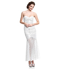Jump® Juniors' White Sequin Mermaid Gown