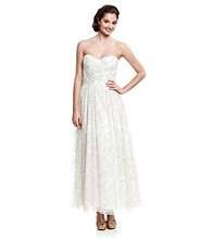Jump® Juniors' Strapless Ivory Glitter Ball Gown