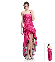 Jump® Juniors' Strapless Hi-Low Pick-Up Gown